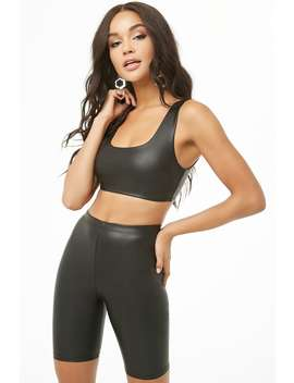 Faux Leather Crop Top & Biker Shorts Set by Forever 21
