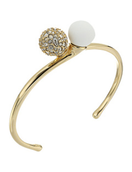 Crystal Encrusted With Matte White Accent Interlocking Sphere Cuff Bracelet by Alexis Bittar