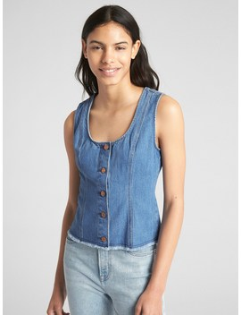 Button Front Denim Tank Top by Gap