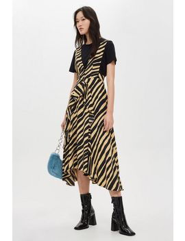 Petite Sand Zebra Pinafore Dress by Topshop