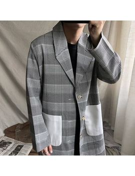 Kman   Houndstooth Panel Single Breasted Trench Coat by Kman