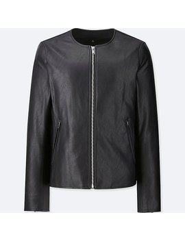Women Collarless Riders Jacket by Uniqlo