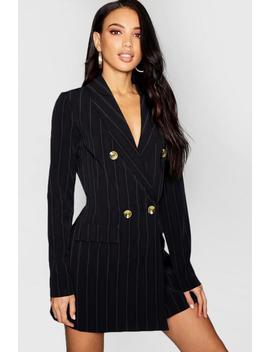 Tonal Stripe Horn Button Blazer Dress by Boohoo