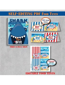 Self Editing Shark Birthday Food Tent Labels Printable Under The Sea Party Shark Party Pool Party Ocean Party Shark Bite Surf A122 6 by Etsy