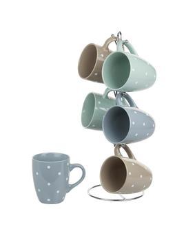 6 Piece 12 Oz. Ceramic Mug Set With Stand by Home Basics
