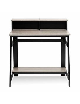 Furinno 14054 Bk/Gyw Simplistic A Frame Computer Desk, Black/Oak Grey by Furinno