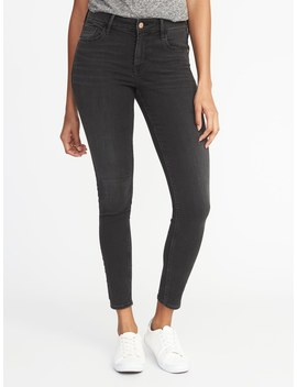 Mid Rise Rockstar Black Super Skinny Jeans For Women by Old Navy