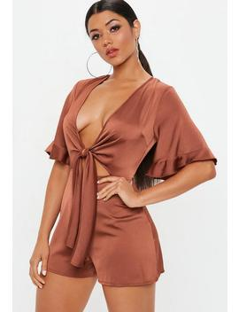 Rust Kimono Sleeve Romper by Missguided
