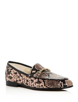 Women's Loraine Snake Embossed Leather Apron Toe Loafers by Sam Edelman