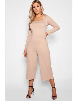 Plus Jumbo Rib Culottes by Boohoo