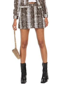 Snake Print Denim Miniskirt by Topshop