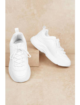 Eddy White Faux Leather Sneakers by Tobi