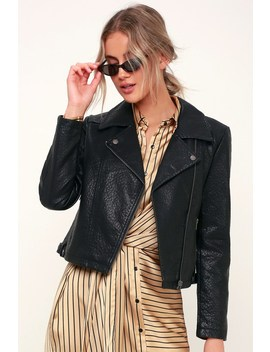 Doin' It Right Black Vegan Leather Moto Jacket by Jack By Bb Dakota