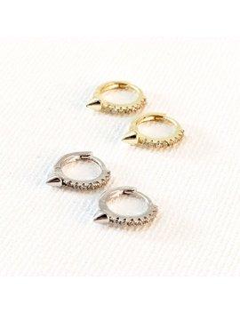 Gold Spike Cz Huggie Earrings•Tiny Gold Hoops•Gold Hoop Earrings•Gold Huggies•Small Gold Hoops•Tiny Gold Huggies•Hoop Earrings• by Etsy