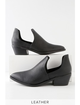 Focus Black Leather Cutout Ankle Booties by Chinese Laundry