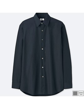Men U Broadcloth Long Sleeve Shirt by Uniqlo