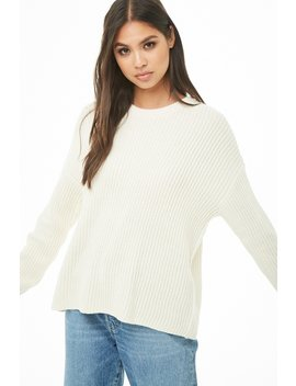 Ribbed Knit Drop Shoulder Sweater by Forever 21