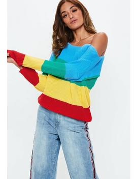 Blue Rainbow Colour Block Off Shoulder Jumper by Missguided