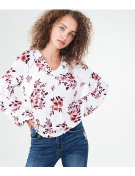 Long Sleeve Floral Pleated Top by Aeropostale