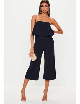 Navy Double Layer Culotte Jumpsuit by Missguided