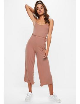 Nude Mocha Ribbed Culotte Jumpsuit by Missguided