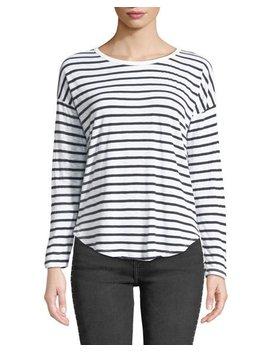 Striped Long Sleeve Crewneck Slub Tee by Splendid