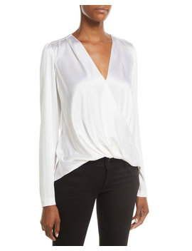 Harmon Draped Long Sleeve Silk Top by A.L.C.