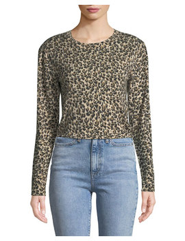 Leopard Print Merino Pullover Sweater by Rebecca Taylor
