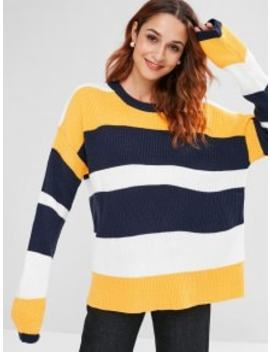 Colorblock Stripe Ribbed Sweater   Multi A by Zaful