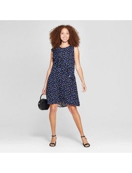 Women's Printed Asymmetrical Ruffle Dress   A New Day™ Navy/White by A New Day™