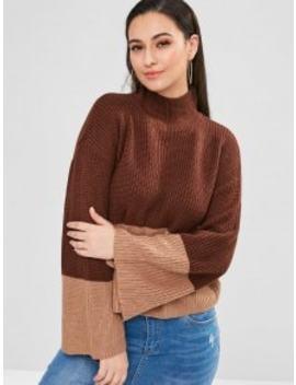 Split Sleeve Color Block Funnel Sweater   Brown by Zaful