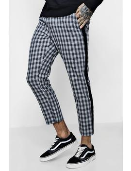 Check Tapered Trouser With Side Detail by Boohoo