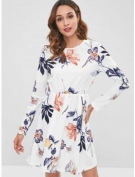 Long Sleeve Floral A Line Dress   White L by Zaful