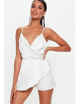 Cream Strappy Wrap Over Romper by Missguided