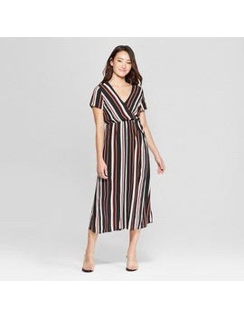 Women's Striped Short Sleeve Midi Dress   Le Kate (Juniors') Black by Le Kate