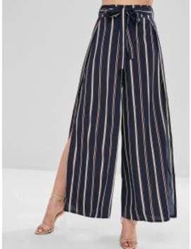 High Slit Stripes Wide Leg Pants   Dark Slate Blue L by Zaful