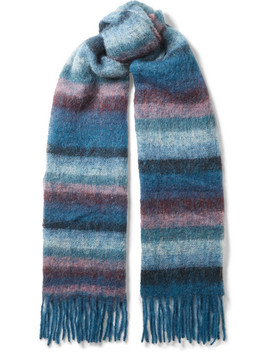 Madai Fringed Striped Knitted Scarf by Holzweiler