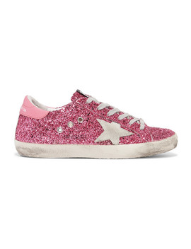 Superstar Distressed Glittered Leather Sneakers by Golden Goose Deluxe Brand