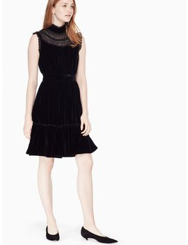 Velvet Lace Trim Dress by Kate Spade