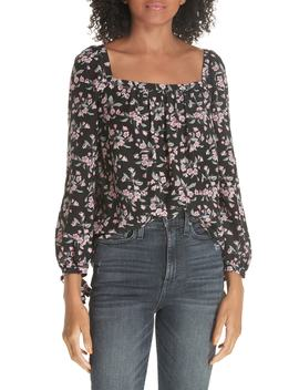 Tilda Floral Tie Sleeve Silk Blouse by Rebecca Taylor