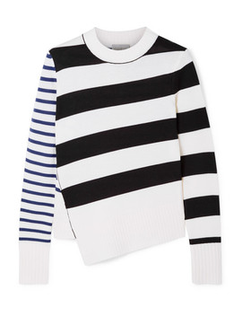 Asymmetric Striped Merino Wool Sweater by Jason Wu Grey