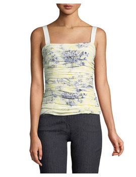 Rian Floral Print Ruched Top by Cinq A Sept