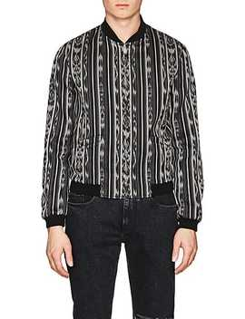 Ikat Inspired Cotton Silk Reversible Varsity Jacket by Saint Laurent