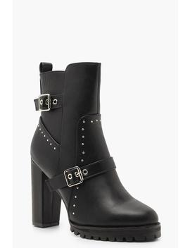 Studded Cleated Platform Shoe Boots by Boohoo