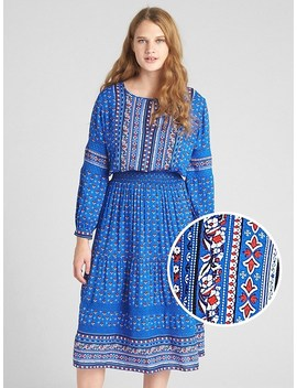 Mix Print Long Sleeve Tiered Midi Dress by Gap