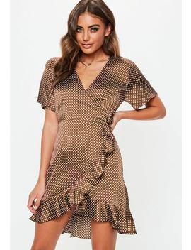 Brown Ruffle Polka Dot Tea Dress by Missguided