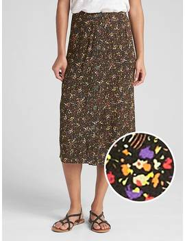 Button Floral Print Midi Skirt by Gap