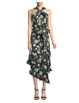 Asymmetrical Floral Ruffle Halter Midi Dress by Derek Lam 10 Crosby