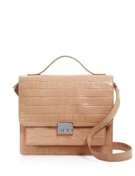 Minimal Rider Medium Croc Embossed Leather Satchel   100 Percents Exclusive by Loeffler Randall