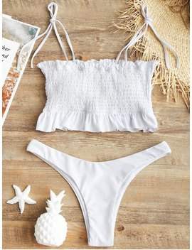 Self Tie Smocked High Cut Bikini Set   White M by Zaful
